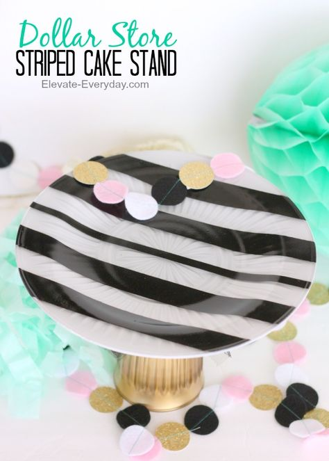 DIY Dollar Store Striped Cake Stand