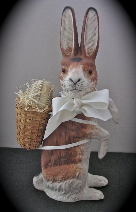 Sweet Vintage German Papier-mache Easter Bunny Rabbit