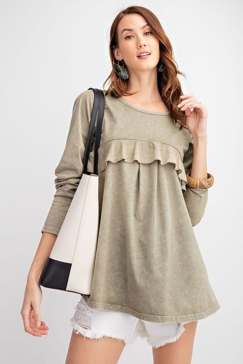Long Sleeve Ruffled Detailing Oil Washed Knit Tunic - L