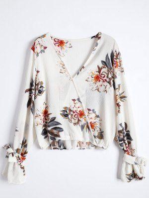 Floral Flare Sleeve Surplice Blouse - Colormix M