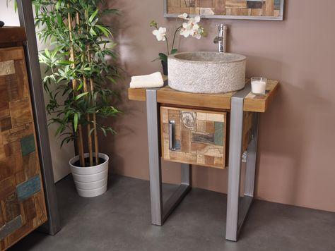 Petit Meuble de salle de bain suspendu 50 cm en teck massif rétro ...