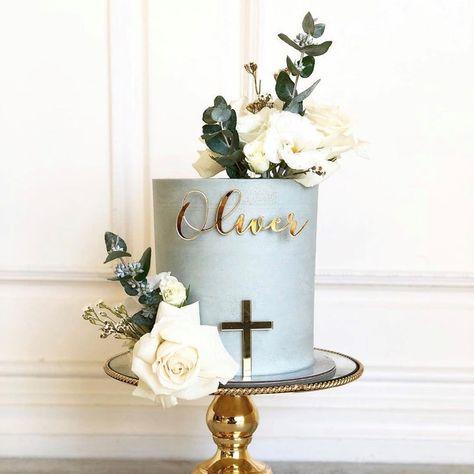 Boy Communion Cake, First Holy Communion Cake, Baby Christening Cakes, Baby Boy Baptism, Cake For Baptism Boy, Simple Baptism Cake, First Communion Decorations, Boy Baptism Decorations, Cross Cakes