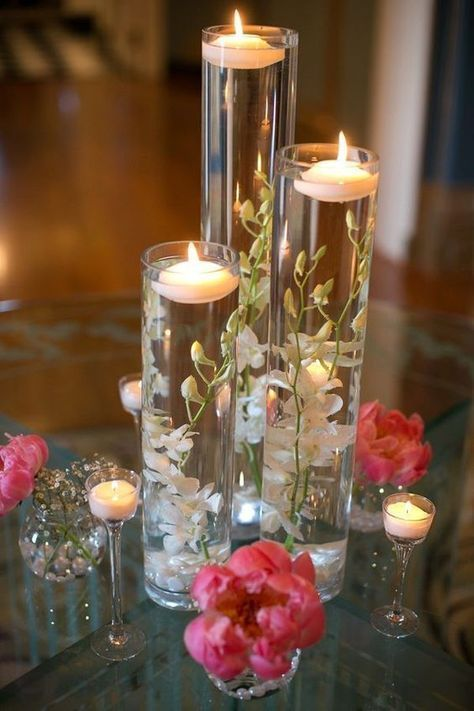 Trendy Wedding Table Decorations Vases Floating Candles 67 Ideas