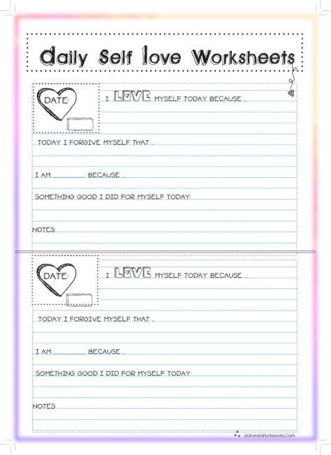 FREE Printable Self Esteem Worksheets | Worksheets, Free printable ...