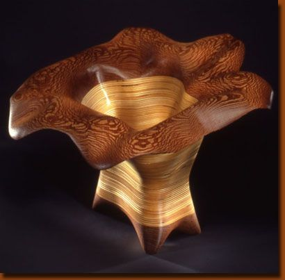 """Anemone"" vessel by Kerry Vesper, in lacewood and Baltic birch"