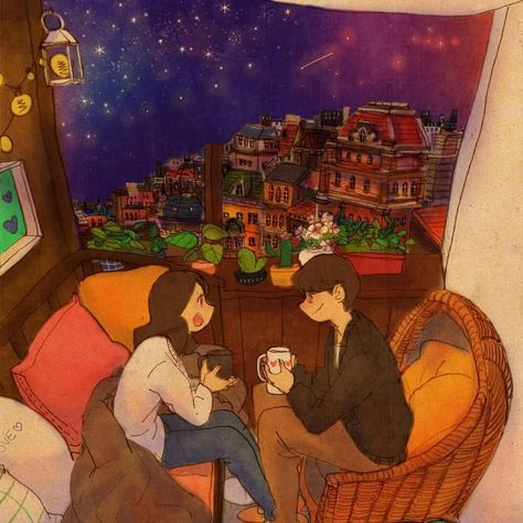 A starry night. We are having a talk while drinking some coffee. See a full illustration