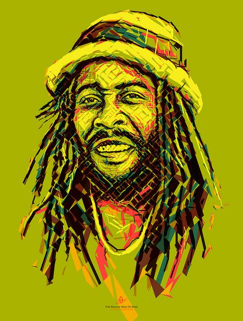 Big Youth: Cool Breeze Reggae poster by Charis Tsevis Jah Youth, Reggae, Ska, Jamaica, Carribean, Africa, music, rock, rasta, Jah, One Love, Rastafari, Haile Selassie, panafrican, illustration, portrait, mosaic, lines, Deejays, haile selassie I