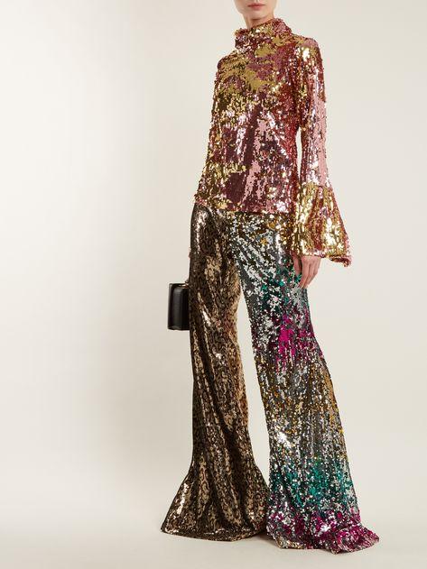 Sequin-embellished high-neck top | Halpern