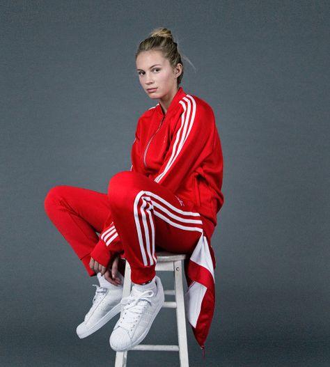 adidas Originals | Red adidas outfit, Red tracksuit, Adidas