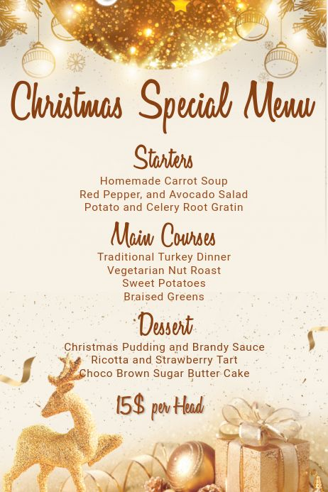 Places To Eat Christmas Day 2020 Christmas Menu Template in 2020 | Menu template, Christmas menu