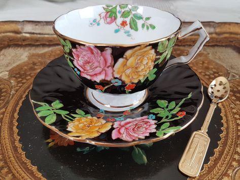 Royal Staffordshire Hand Colored Bone China Crocus Motif Demitasse Cup /& Saucer