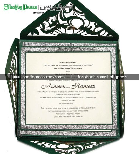 """Pak Rs.175/-each  Extra insert Rs.55/- each.   This card has been designed to resemble ornamental plant vines on the 4-flaps of the envelope type folder. If you want your love of nature to be reflected on your wedding card then you will not find anything better. The folder is green throughout, accordingly – call it """"nature-friendly"""".  www.shafiqpress.com shadi cards wedding card printing wedding invitation cards shadi card design #happyweddingtoyou #shadimubarak"""
