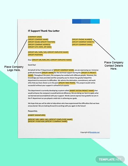 It Support Thank You Letter Template Free Pdf Word Apple Pages Google Docs Thank You Letter Template Letter Template Word Thank You Letter