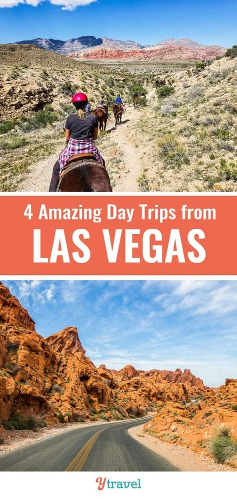 Places to visit near Las Vegas. Here are 4 amazing day trips from Vegas that are less than 2 hours from the Strip to get out in nature and go, hiking, horse riding, scenic drives and more. Don't visit Nevada without learning about these amazing Vegas getaways! There are so many amazing things to do in this area! #LasVegas #Nevada #USAtravel #travel #roadtrips #vacations #familytravel #Vegas