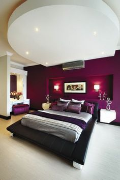Purple Creates A Sultry Mood In Bedroom Love The Accent Wall Bedding Colors