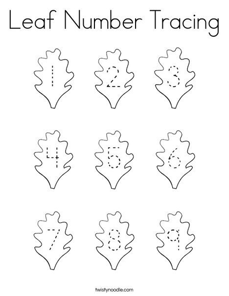 Leaf Number Tracing Coloring Page Twisty Noodle Number Tracing Coloring Pages Coloring Pages Nature
