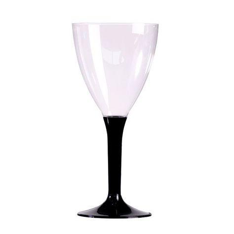 10 VERRES À VIN RÉUTILISABLES 16CL PIED NOIR | Verre de vin