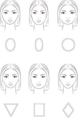 Ilustracion Del Vector De La Cara De La Mujer Diferentes Formas De La Cara Formas De Cara Mujer Formas De Cara Gaficos De La Cara