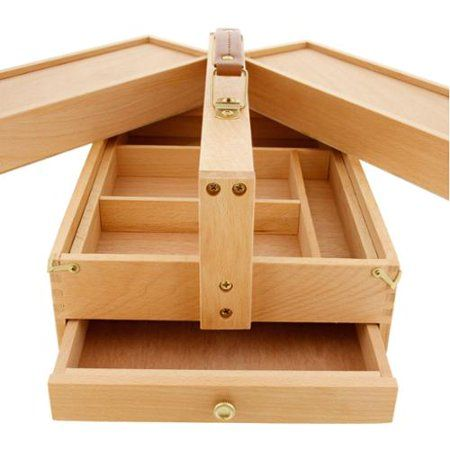 US Art Supply Large Multi-Function Wooden Artist Tool /& Brush Storage Box Draw