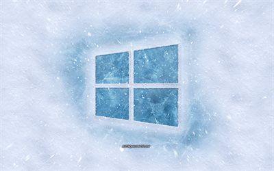 Download Wallpapers Windows 10 Logo Winter Concepts Snow Texture Snow Background Windows 10 Emblem Winter Art Windows Besthqwallpapers Com Windows 10 Logo Wallpaper Windows 10 Snow Texture
