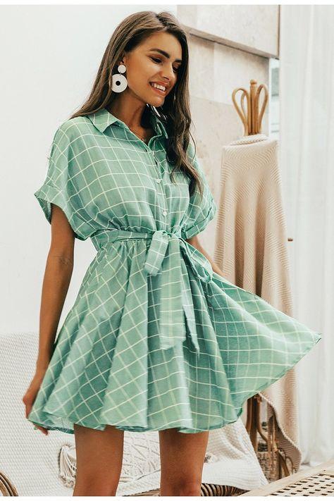 Elegant plaid sashes Button sleeve A-line dress - Light Green / M