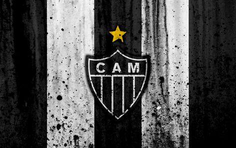 Download wallpapers FC Atletico Mineiro, 4k, grunge, Brazilian Seria A, logo, Brazil, soccer, football club, Atletico Mineiro, stone texture, art, Atletico Mineiro FC