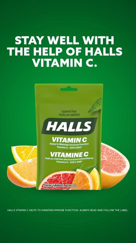 Halls Vitamin C provides at least 100% of the Recommended Dietary Allowance of Vitamin C per dose.