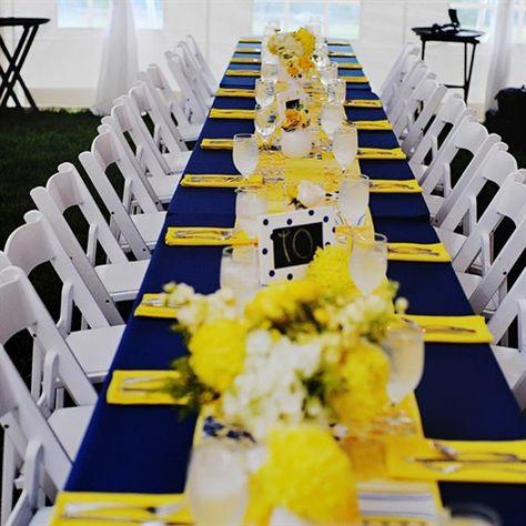 Navy And Yellow Reception Decor Wedding Wedding Decorations