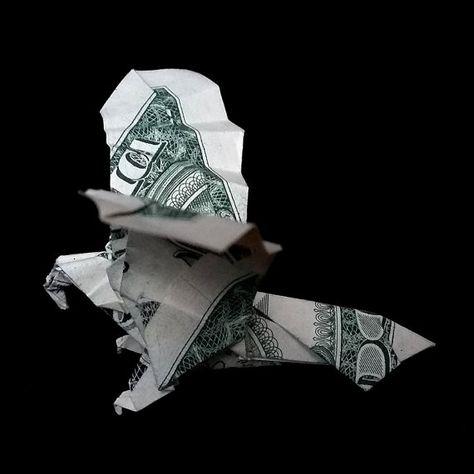 Real One Dollar Bill Origami Flying EAGLE Charm Bird Sculpture Small Art Gift Money Animal Figure Handmade Figurine Miniature Eagle Decor