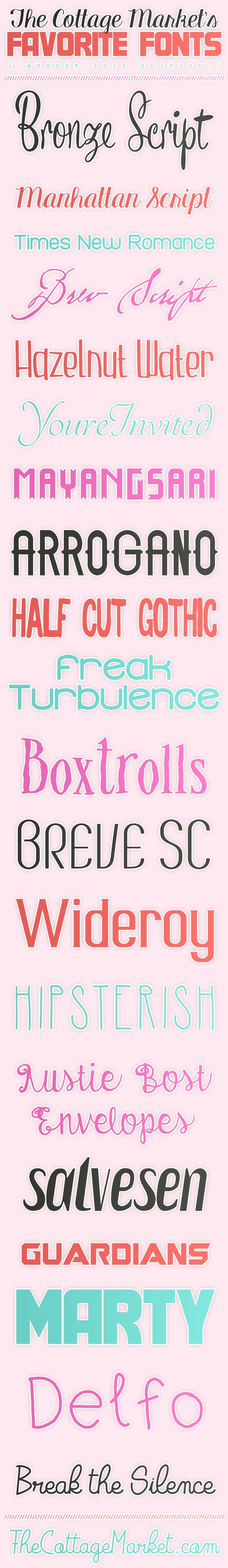 Free Fonts The Cottage Market August 2014 Favorites - The Cottage Market #FreeFonts, #FreeFontCollection, #FunFreeFonts   ALL LINKS INCLUDED On This POST