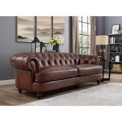 Charlton Home Southgate Leather Sofa Wayfair In 2020 Leather Sofa Leather Sofa Set Top Grain Leather Sofa