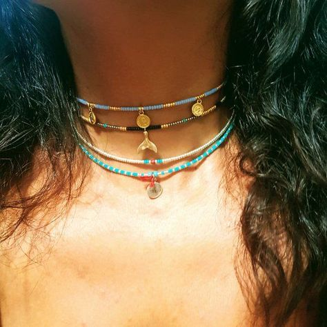 blue Beads Choker,Gold filled coins Beaded Chain necklace, Short blue Necklace,seed bead choker, summer beaded boho choker for festival