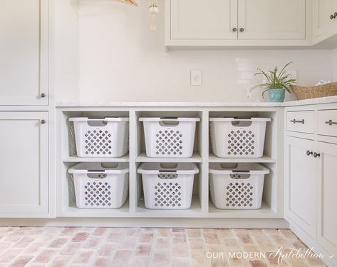Another fabulous home that you MUST SEE as part of my Bright White Home Series. Come visit the home of Our Modern Antebellum! Laundry Room Remodel, Laundry Decor, Small Laundry Rooms, Laundry Room Organization, Laundry Room Design, Organizing, Organization Hacks, Between The Sheets, Laundry Chute