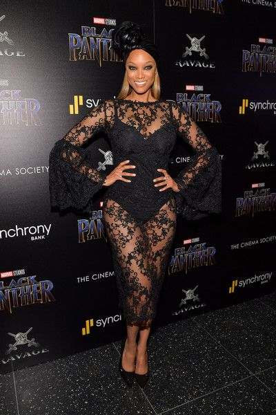 TV personality Tyra Banks attends the screening of Marvel Studios' 'Black Panther' hosted by The Cinema Society.