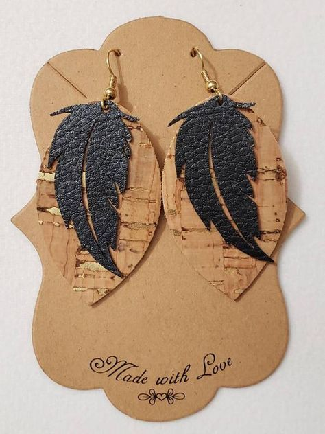 Cork and Faux Leather Earrings - Drop Earrings - Layered Earrings - Feather Earrings - Cork Teardrop Earrings - Boho Earrings Diy Leather Earrings, Boho Earrings, Leather Jewelry, Beaded Jewelry, Diy Jewelry Making, Jewelry Making Supplies, Vintage Jewelry Crafts, Jewellery Storage, Bracelets