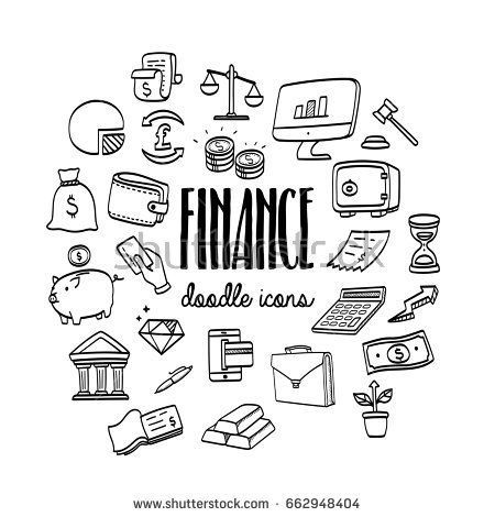 Set Hand Drawn Doodle Business And Finance Icons How To Draw Hands Doodles Finance Icons