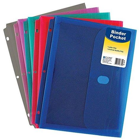 C-Line Super Heavyweight Poly Binder Pocket with Hook & Loop Closure, 1-Inch Gusset, Letter Size, Pack of 36, Assorted Colors (58730) - Default