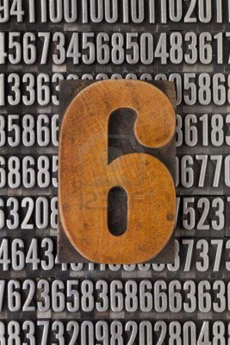 Number six in vintage letterpress wood type against background of random metal numbers #Letterpress
