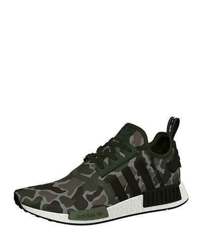 Men's NMD_R1 Camo Knit Trainer Sneaker Green Buty moro  Camo shoes