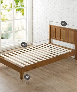 Zinus 12 Inch Deluxe Wood Platform Bed With Headboard No Box Spring Needed Wood Slat Support Rustic Pine Finish