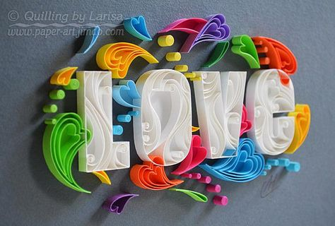 Original Paper Quilling Wall Art - My Love for you is huge. This is a one of a kind piece of art. The artwork is very colorful and will give gladness and a lot of positive emotions for you :) This wall art is my own creation, I made it in a technique graphic quilling, using