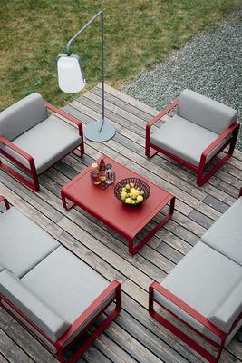 Canapé droit Bellevie Fermob rouge et gris terrasse carré en ...