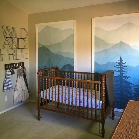 Woodland Theme Nursery With Etsy Framed Wallpaper And Target Wild And Free Wall Art Baby Boy Room Decor Nursery Accent Wall Framed Wallpaper