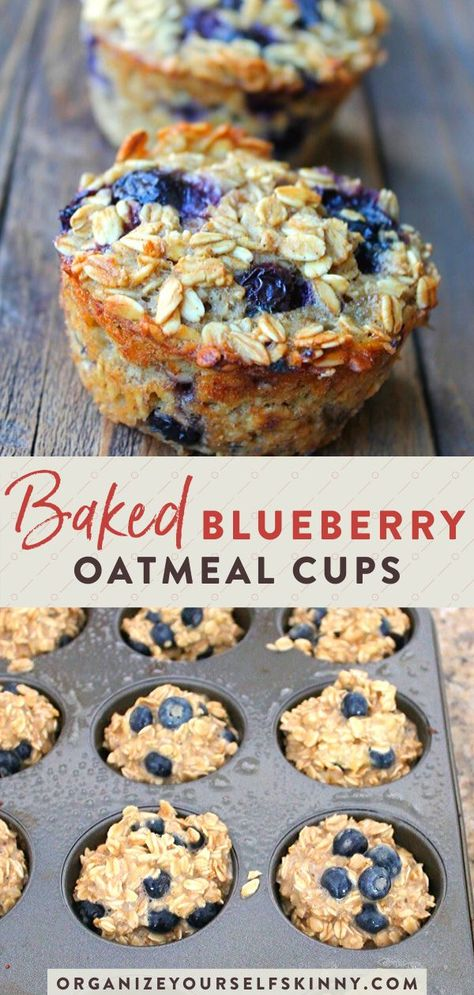 Baked Oatmeal Cups For Easy Meal Prep (Banana & Blueberry)- Looking for an easy meal prep breakfast recipe to make ahead? These blueberry banana oatmeal cups are the winner! They're packed with protein, quick & delicious! Baked Oatmeal Cups, Baked Banana, Blueberry Banana Oatmeal Muffins, Blueberry Breakfast Recipes, Healthy Baked Oatmeal, Baked Oatmeal Recipes, Baked Breakfast Recipes, Breakfast Cups, Quick Healthy Breakfast
