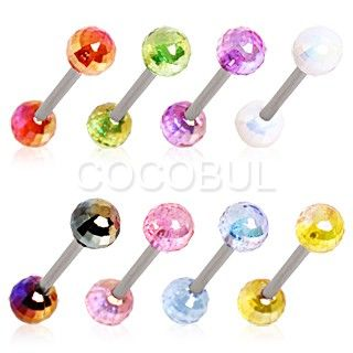 WildKlass Jewelry 316L Surgical Steel Nipple Bar with UV Acrylic Rasta Balls