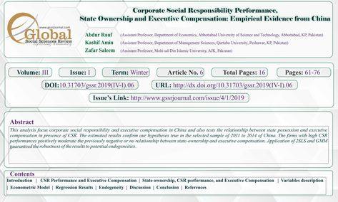 Corporate Social Responsibility Performance, State Ownership and Executive Compensation: Empirical E