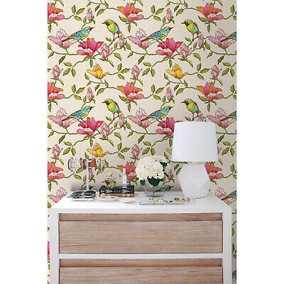 Floral And Birds Removable Wallpaper Pink Mural Self Adhesive Peel Stick Pink Removable Wallpaper Removable Wallpaper Removable Wallpaper For Renters