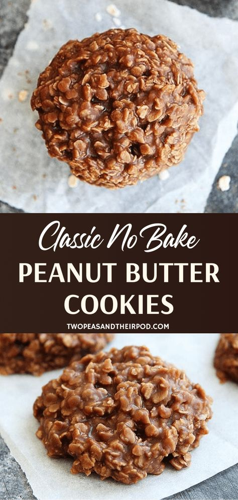 Classic No Bake Cookies are an all-time favorite! This old-fashioned, traditional dessert recipe is easy to make with staple ingredients. You can never go wrong with a delicious blend of chocolate, peanut butter, and oatmeal! Save this and try it! Oatmeal No Bake Cookies, Healthy No Bake Cookies, Chocolate Oatmeal Cookies, Easy Cookie Recipes, Healthy Dessert Recipes, Healthy Baking, Baking Recipes, No Bke Cookies, Baking Chocolate
