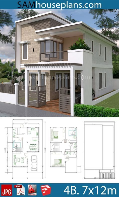 House Plans 7x12m With 4 Bedrooms Plot 8x15 Sam House Plans Bungalow House Design Duplex House Design House Designs Exterior