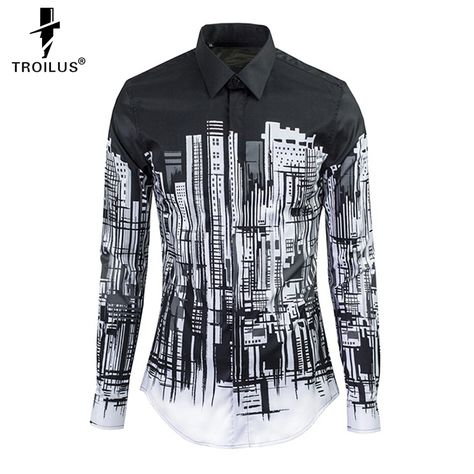 Rising ON NEW Long sleeve shirt shirts for men Male Shirts Fashion Silm Casual clothes Ribbon decoration European Style